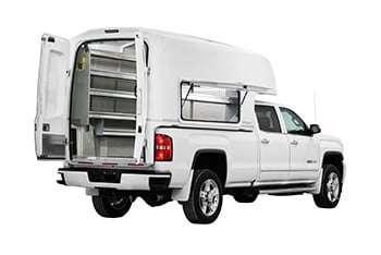 Diablo with open door on GMC truck - back view