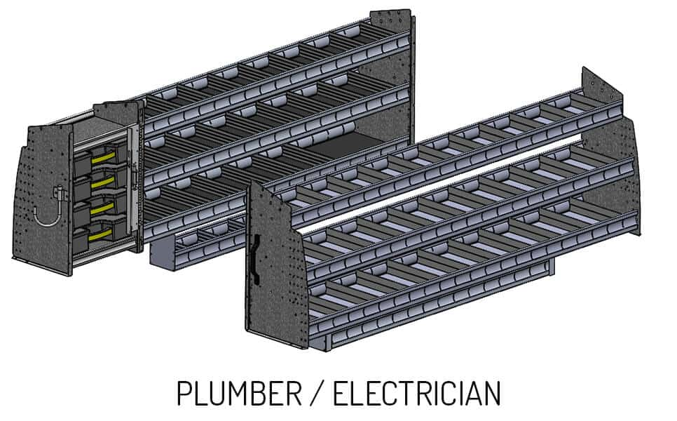 Wild shelving configuration for plumber and electrician